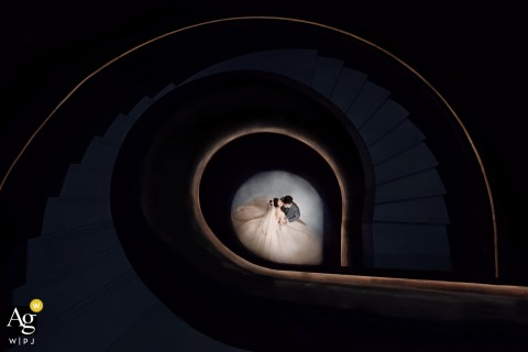 Guangxi wedding couple artistic image session high above the Nanning spiral staircase