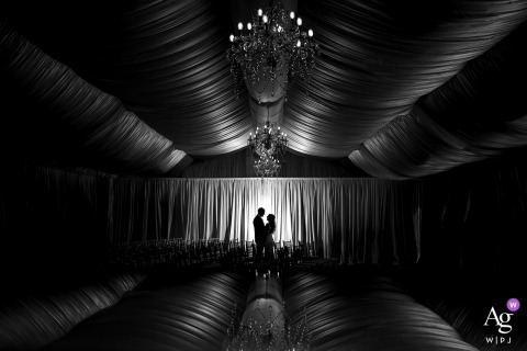 Wellshire Event Center, Denver, CO wedding couple artistic image session as a black and white silhouette portrait of bride and groom