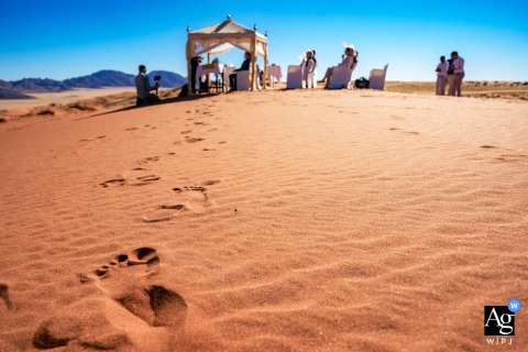 Wolwedans Namibia artful style wedding detail picture showing off Footprints in the desert sands