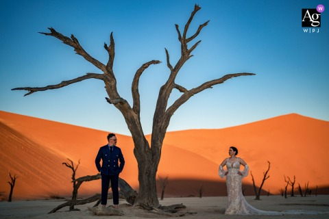 Deadvlei Namibia wedding couple artistic image session for a warm Portrait in the desert with a dead tree
