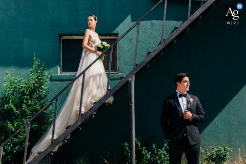 Ankara Binicilik Club wedding couple artistic image session showing Light and shadows hitting the bride and groom