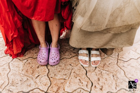 Istanbul artful style wedding detail picture of Shoes on the tile floor