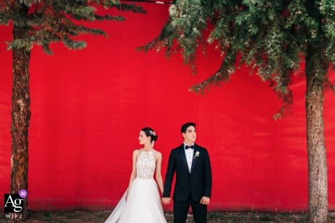Ankara Binicilik Club wedding couple artistic image session against red painted wall with two trees