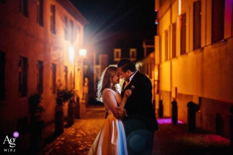 Deidesheim wedding couple artistic image session for a dramatic, urban night time portrait