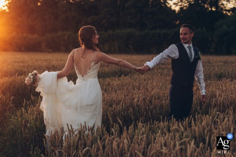 The Farmhouse at Redcoats, UK wedding couple artistic image session with a walk in golden hour at sunset
