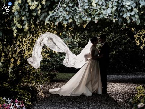 Casalpusterlengo, Italy wedding couple artistic image session at the Private villa marriage venue