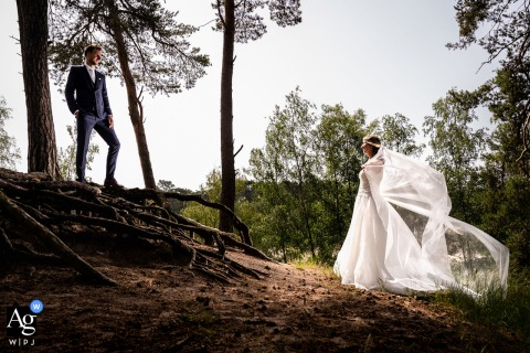 Henschotermeer, Zeist wedding couple artistic image session with The bride and groom posing in a cool and tough way while the wind catches her veil