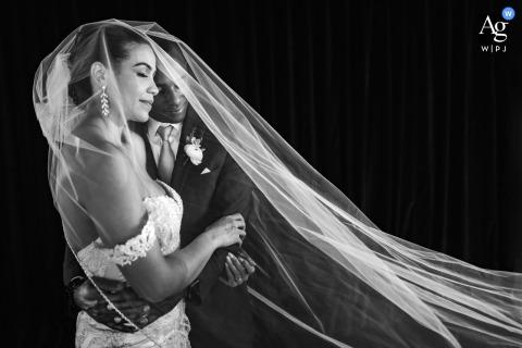 Ventanas, Atlanta, Georgia wedding couple artistic image session resulting in a BW Veil Portrait