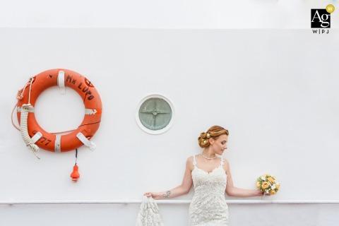 Civitanova Marche wedding bridal artistic image session with a life preserver