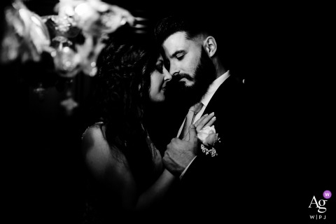 Villa Rocca Bruna, Rome, Italy wedding couple artistic image session in BW with tenderness and romance