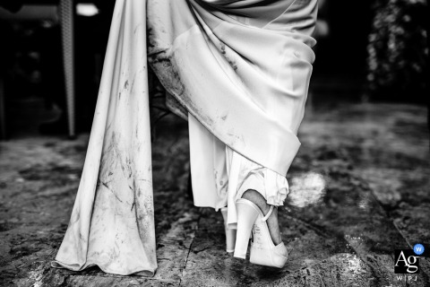 Villa Rocca Bruna, Rome artful style wedding detail picture in BW of The bridal dress after the rain