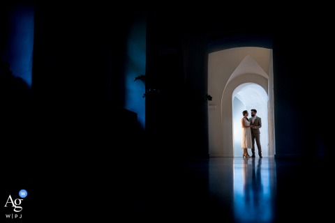 Prague wedding couple artistic image session for a Portrait in the historical corridor
