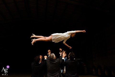 Paris wedding artistic image session at the Reception venue of the Bride in the air