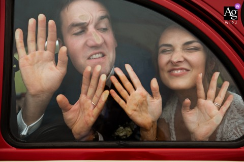Paris wedding couple artistic image session with the Bride and groom in the car