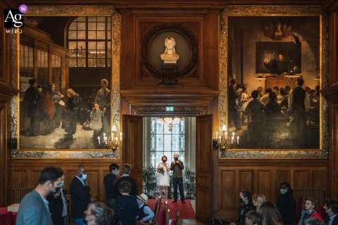 Paris, France wedding venue  indoor ceremony photography of The couple just before the civil ceremony
