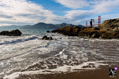 Golden Gate Bridge, San Francisco wedding couple artistic image session at a Northern California beach venue