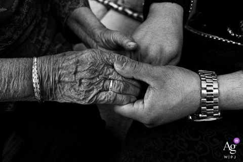 Beijing artful style wedding detail picture in BW as The bridegroom took the hand of the brides grandmother