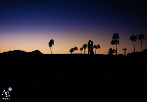 View thispicturesque McCormick Ranch Golf Club Scottsdale wedding day bride and groom pic at sunset which was a featured pictureamong the best wedding photography in Arizona from the WPJA
