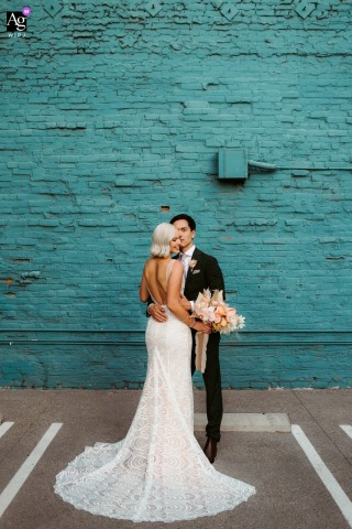 View thisstylish Los Angeles wedding day couple portrait of the bride Showing off that long train, which was a featured pictureamong the best wedding photography in California from the WPJA