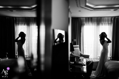 View thispoetic Istanbul Bridal portrait in BW before the ceremony, which was a featured pictureamong the best wedding photography at Wyndham Kalamis from the WPJA