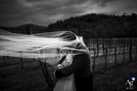 View thisdramatic Tenuta Serradesca portrait in BW showing the couple might fly away with the veil, which was a featured pictureamong the best wedding photography in Italy from the WPJA