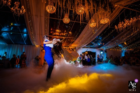 View thiselegant Aheloy wedding picture of The couple having their first dance in a fairytale scene, which was a featured pictureamong the best wedding photography at Marina Cape in Bulgaria from the WPJA