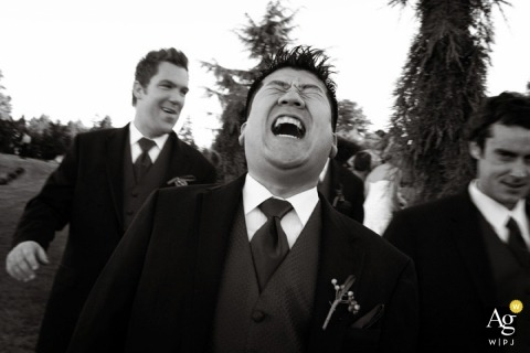 Seattle Artistic Wedding Photographer | Image contains: groom, groomsmen, black and white, laughing