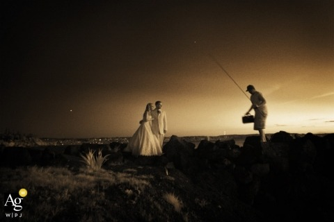 Seattle Artistic Wedding Photography | Image contains: bride, groom, fishing, outdoors, sepia, portrait