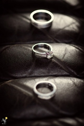 Seattle Fine Art Wedding Photographer | Image contains: detail shot, rings, black and white