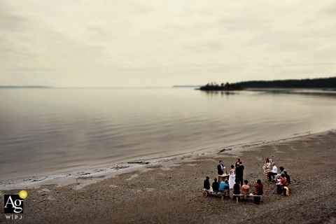 Seattle Creative Wedding Photojournalist| Image contains: beach, distance shot, overhead shot, ceremony, outdoors, intimate