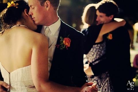 Seattle Fine Art Wedding Photographer | Image contains: bride, groom, dancing, portrait, wedding reception, dress, flowers