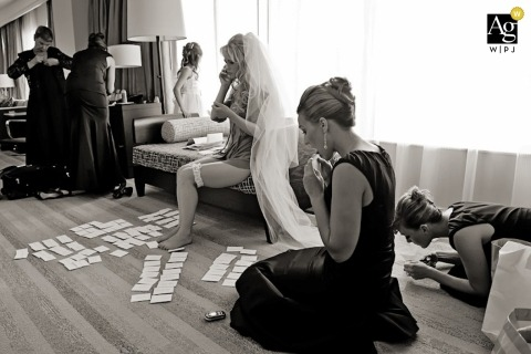 Seattle Creative Wedding Photojournalist | Image contains: black and white, getting ready, bridesmaid, bride, veil