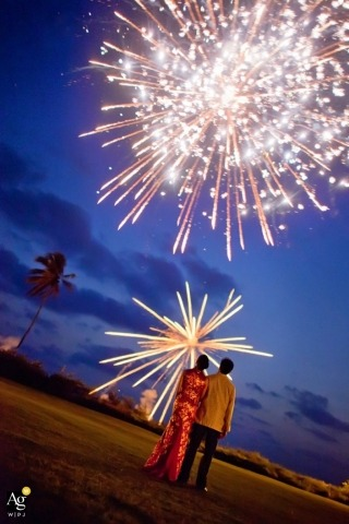 Seattle Creative Wedding Photographer | Image contains: bride, groom, fireworks, sky, palm trees