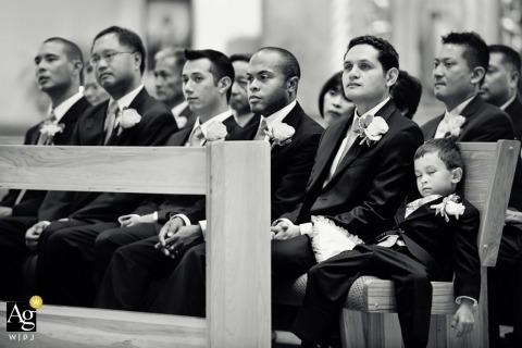 Seattle Fine Art Wedding Photographer | Image contains: black and white, groomsmen, sleeping, ring bearer, wedding ceremony