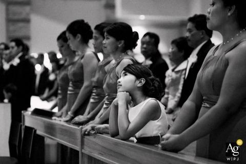 Seattle Creative Wedding Photojournalist | Image contains: wedding party, child, black and white, bridesmaids, wedding ceremony