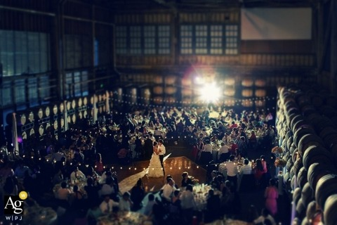Seattle Artistic Wedding Photography | Image contains: bride, groom, wedding reception, overhead shot, lights, winery