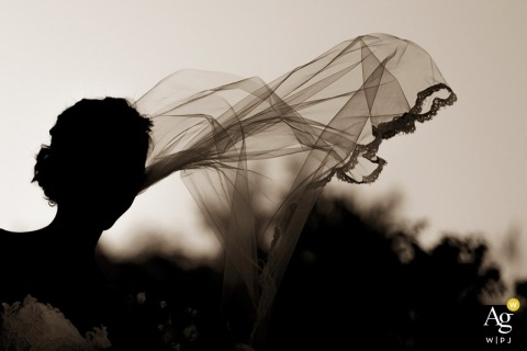 Seattle Creative Wedding Photographer | Image contains: black and white, silhouette, veil, bride, bouquet