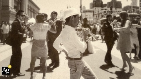 Seattle Documentary Creative Wedding Photography | Image contains: dancing, trumpet, band, street, wedding reception, sepia