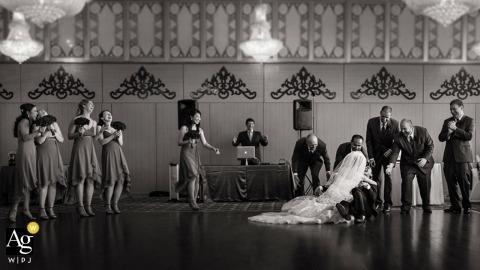 Seattle Artistic Wedding Photojournalism | Image contains:black and white, bride, groom, reception, dance floor, bridesmaids, groomsmen, DJ