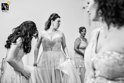 São Paulo  Wedding Photojournalism | Image contains: black and white, bride, bridesmaids, getting ready, bridal party, wedding dress