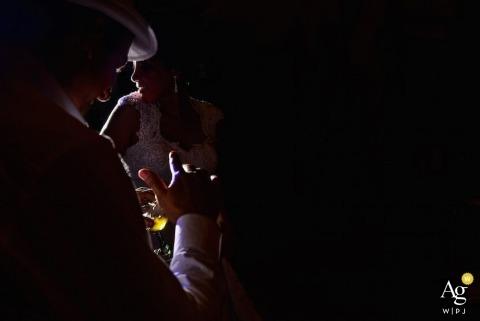 São Paulo Documentary Wedding Photographer | Image contains: drinks, wedding guests, wedding reception, party, spotlight