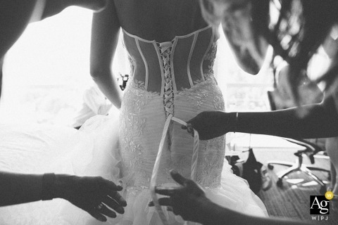 Seattle Artistic Wedding Photography | Image contains: black and white, getting ready, dress, detail shot