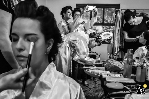 São Paulo Wedding Photojournalism | Image contains: bride, bridesmaids, getting ready, make up, selfie, bridal party, black and white