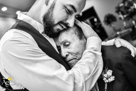 São Paulo Wedding Photography | Image contains: groom, father, black and white, portrait, hugs