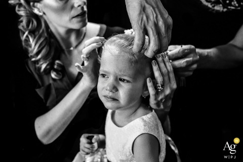 São Paulo Documentary Wedding Photography | Image contains: black and white, flowergirl, getting ready, portrait