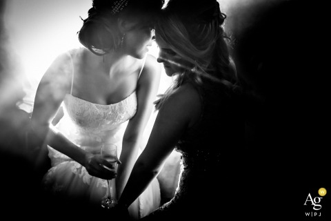São Paulo  Wedding Photographer | Image contains: black and white, bride, bridesmaid, drinks, portrait