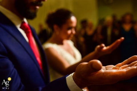 São Paulo Wedding Photojournalism | Image contains: bride, groom, ceremony, rings, detail shot