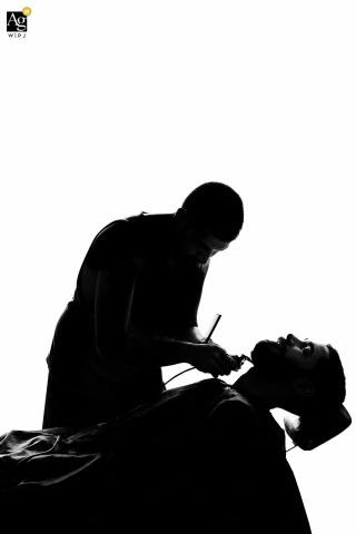 São Paulo Documentary Wedding Photographer | Image contains: black and white, groom, shaving, getting ready, portrait, silhouette