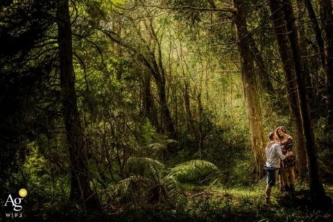 São Paulo Documentary Wedding Photography | Image contains: bride, groom, pre-wedding portrait, woods, outdoors