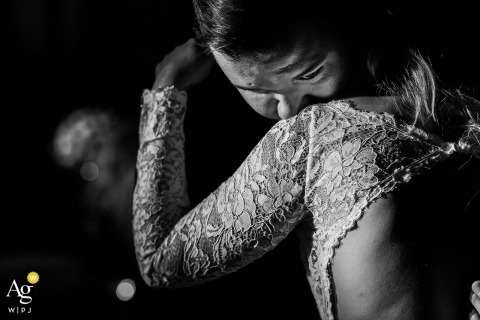 São Paulo Wedding Photography | Image contains: black and white, bride, groom, embrace, lace, portrait